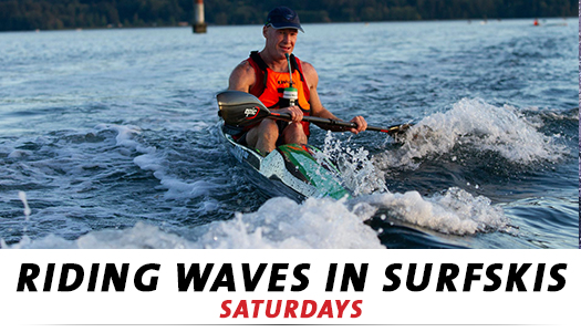 Riding Waves in surfskis at Cates